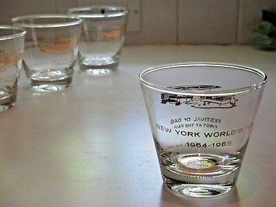 4 New York World's Fair OLD FASHION GLASSES 1964 - 1965 Festival OF GAS PAVILION