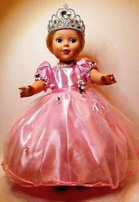 """Beautiful Pink Princess Dress with crown fits American girl and all 18"""" dolls"""