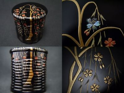 Japanese Lacquer Tea caddy WEEPING CHERRY TREE makie Bamboo KAGO-Natsume (1203)