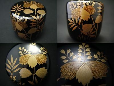 Japanese Lacquer Wooden Tea caddy PAULOWNIA BAMBOO makie Natsume (1205)