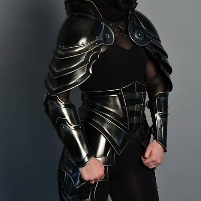 "Black Antique Medieval Armor FULL SET Of Lady Larp Hunter ""Princess of the war"""