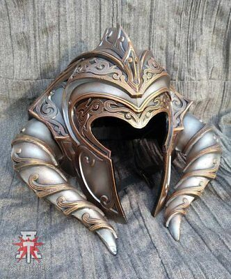 Norse helmet with horns, Warrior armor, LARP helmet, Fantasy Armor, Full head