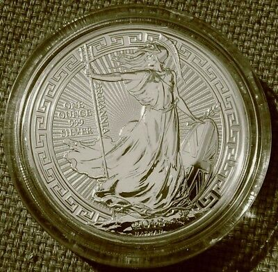 2018  1oz SILVER BRITANNIA  ORIENTAL BORDER £2 COIN. two pounds, UK bullion UNC