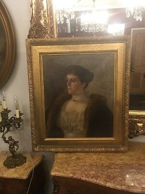 Large Antique Oil Portrait Nellie Lewis 1898 Signed In Gilt Wood Thick Frame