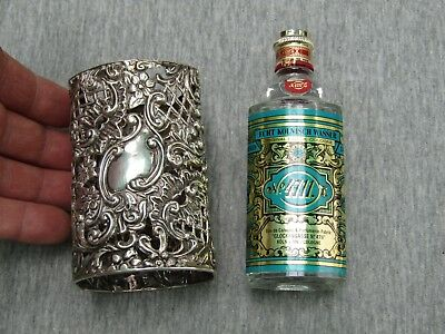 Large Antique Sterling Silver Perfume Bottle Holder
