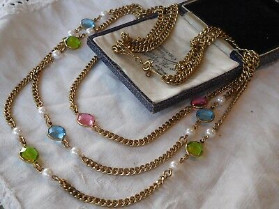 Colourful Cascading Vintage 1960s Gold Chain Bezel Set Crystal Necklace