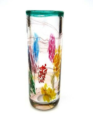 Signed Art Glass Freeform Studio Vase with Multi Colours - High Quality
