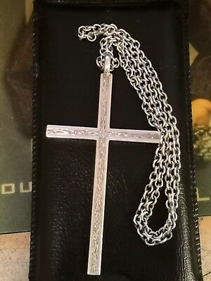 VINTAGE HEAVY LARGE SOLID SILVER CROSS AND CHAIN 57.6g religious , goth, retro