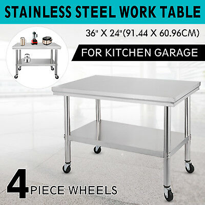 """36""""x24"""" Stainless Steel Work Table 4 Casters Outdoor BBQ Prep Tables 2 Tier"""