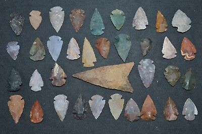 "36 PC Flint Arrowhead Ohio Collection Points 1-3"" Spear Bow Stone Hunting Blade"