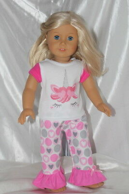 Dress Outfit fits 18inch American Girl Doll Clothes Unicorn Hearts Pink