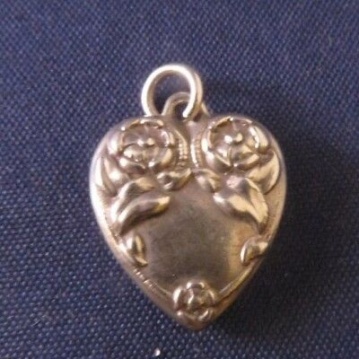 Vintage Sterling Silver Puffy Heart Charm - Two Double Flower Design