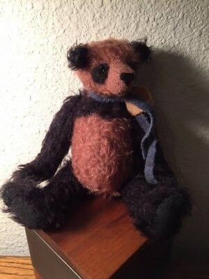"""9"""" OOAK BLACK AND MAGENTA MOHAIR Bear by CAPE ROUGE PRIMITIVES HANG TAG MINT"""