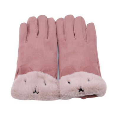 Women Ladies Fleece Lined Warm Thick Touch Screen Full Finger Winter Gloves 8C