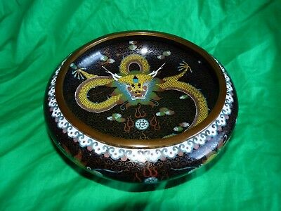 Fine antique Chinese cloisonné bowl – 4 character mark – 5 claw dragon