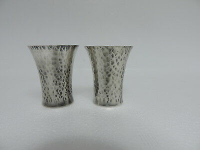 2 Antique Signed Japanese Sterling Silver Whiskey Tumbler Shot Cups 24 Grams
