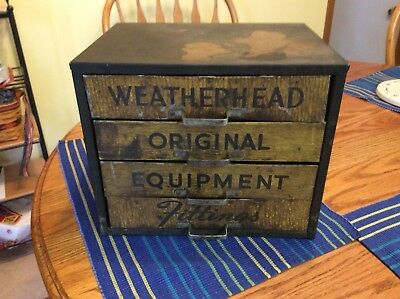 Vintage Weatherhead Equipment Fitting Metal Storage Cabinet Garage Gas Station