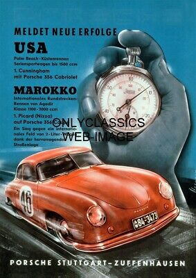 1953 Porsche 356 Coupe Sports Car Germany Advertising 12X17 Poster Automobilia