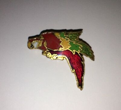 Audubon Exotic Bird Cockatoo Parrot Enamel Pin BASTAIN BROTHERS BRO VTG Jewelry