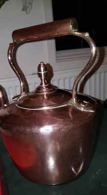 Antique Mid 19th C. Victorian Seamed Copper & Brass Kettle Acorn Finial
