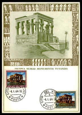 VATICAN MK 1964 ÄGYPTEN NUBIEN PHILAE TEMPEL MAXIMUMKARTE MAXI CARD MC CM as43