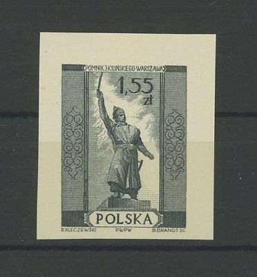 POLAND OFFICIAL BLACK PRINT 1958 CARDBOARD IMPERF RARE!! MONUMENT WARRIOR h2566