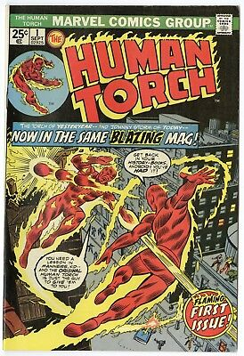 Human Torch #1 VF/NM 9.0 ow/white pages  Marvel  1974  No Reserve