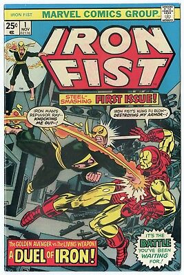 Iron Fist #1 NM- 9.2 ow/white pages  vs. Iron Man  Marvel  1975  No Reserve