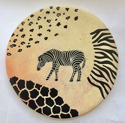 "African Soapstone Plate 8"" KENYA Hand Carved and Painted ZEBRA"