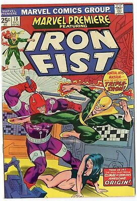 Marvel Premiere #18 NM- 9.2 white pages  Iron Fist  1974  No Reserve