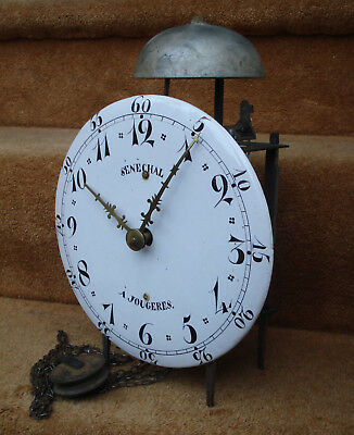 Later 18Thc French Faience Dial Iron Framed Lantern Clock Senechal A Jougeres #2