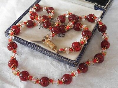Beautiful Vintage 1960s Venetian Red Glass Bead Necklace screw clasp