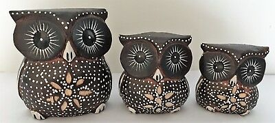 Handmade Carved Wooden Owl Set of 3 Ornaments