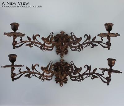 Pair of Art Nouveau floral wall piano sconces candle holders.