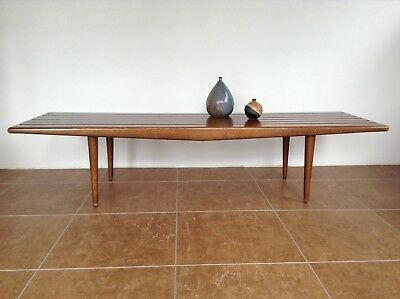 Vintage Mid Century Danish Modern Slat Wood Bench Coffee Table