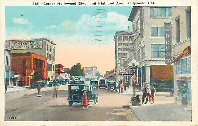 Hollywood California Great Old 1925 Street Scene Postcard View