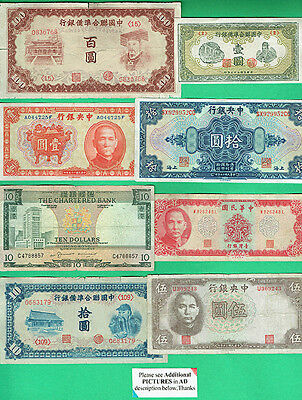 CHINA & HONG KONG, VARIETY OF CURRENCIES EARLY 1900's ONWARD, 14 NOTES AS SHOWN