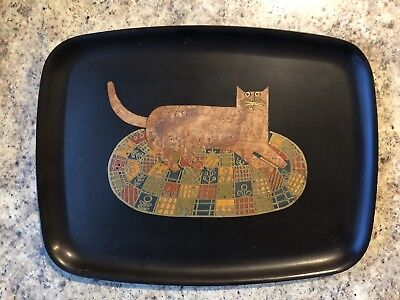 Couroc of monterey Tray Cat On Patchwork Rug
