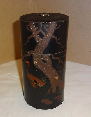 Antique Japanese Lacquer Tin Tea Caddy With Mother Of Pearl Inlay And Cranes