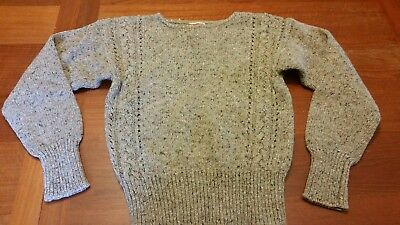 Vintage Kids Large Wool Acrylic Blend Cable Knit Sweater Light Brown Sweet!!