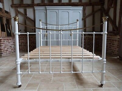 Victorian double brass and iron bed in white with new slatted base