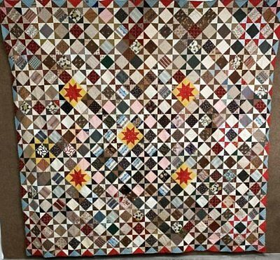 Museum c 1830-40s Stars & Stars QUILT Top Antique Chintz Turkey Red Maryland