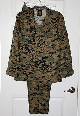 USMC MCCUU Woodland Digital MARPAT Combat Blouse & Trouser Pants Set Large Long