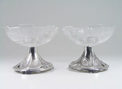 BEAUTIFUL WMF Pair of Ice Cream Cups Whiplashes & Cut Crystals