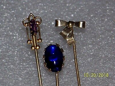 Vintage Antique Lot Of Sterling Silver-Amethyst-Blue Glass Hat Stick Tie Pins