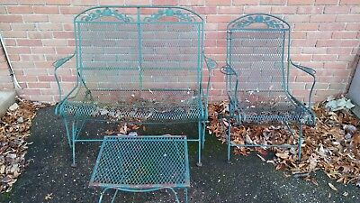 Vintage wrought iron patio rocking bench chair table little repair needed
