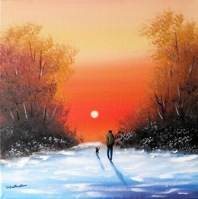 ORIGINAL CANVAS OIL PAINTING Sarah Featherstone, Winter Sunset,Man Dog Walk,Snow