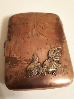 Antique Chinese Pretty copper brass engraved  cigarette case