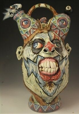 'Blue Lightning' A Surreal Southern Folk Art Face Jug Sculpture by Ron Dahline