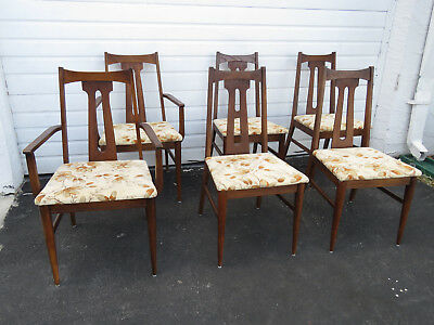 Mid Century Modern Set of Six Dining Room Chairs by Bassett Furniture 9437X